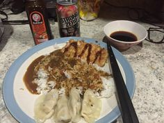 Being back in the US after living in Japan my wife drove by an Oriental market. Coco Ichiban curry Fried pork cutlet (with Bulldog sauce) steamed Gyoza and Chu-hi. Yum! [2048x1536] [OC]. wallpaper/ background for iPad mini/ air/ 2 / pro/ laptop @dquocbuu