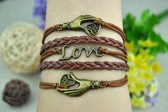 Bronze  Love Cuff Leather Bracelet  Brown  by DavidBracelets, $5.99