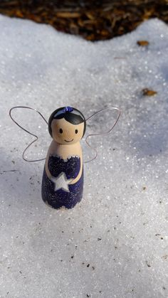 Items similar to Peg Doll Little Wonders Midnight Fairy on Etsy Wood Peg Dolls, Clothespin Dolls, Angel Crafts, Holiday Crafts, Christmas Angels, Christmas Ornaments, Christmas Diy, Wooden Pegs, Wooden Crafts
