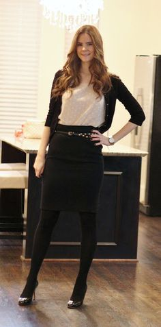 Black pencil skirt, cardigan, work outfit