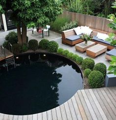 Awesome above-ground pool. If I could have one that looked like this, I would have one.