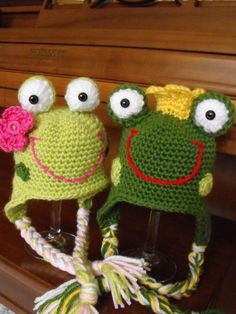 Frog Prince and Miss Froggie Crochet by HotOffTheHookCrochet, $50.00