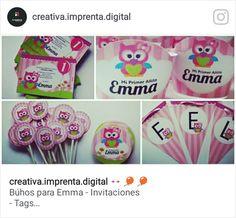 Bhúos para Emma: Invitaciones - Wrappers - Toppers - Tags - Banderines  #Owl #PartyKids #Emma