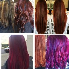 Hair color makeover, red hair, purple hair, pink hair, long hair, bright hair color