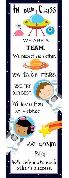Brilliant Classroom Decoration & Organizing Ideas To Make Your Class SPACE theme classroom decor, banners, posters, clip charts, P. Space Theme Classroom, Classroom Design, Classroom Displays, School Classroom, Classroom Organization, Organization Ideas, Classroom Charts, Charts For Classroom Decoration, Classroom Rules Display