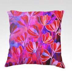 EFFLORESCENCE Bold Fuchsia Deep Fuchsia Hot Pink Red Blue Floral Decorative Velveteen Throw Pillow Cushion Cover by EbiEmporium, Lovely Whimsical Pretty Feminine Girly Flowers Abstract Stylish Garden Elegant Pattern #whimsical #art #fineart #hotpink #pink #crimson #bold #fuchsia #magenta #red #pillow #decorative #pillowcover #cushion #boldcolors #pattern #throwpillow #luxury #velveteen #elegant #stylish
