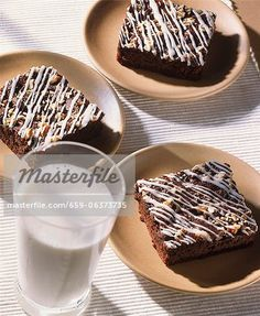 Glass Of Milk, Brownies, Icing, Pudding, Sweets, Inspirational, Plates, Desserts, Food