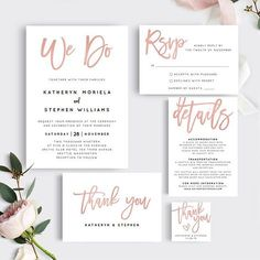 Rose Gold We Do Wedding Invitation Template Download