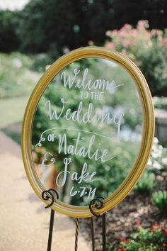cute mirror sign wedding decors for traditional garden wedding