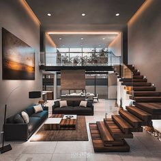 Modern architecture house design with minimalist style and luxury exterior and i. - Modern architecture house design with minimalist style and luxury exterior and i… Modern archit - Loft Design, Home Room Design, Dream Home Design, Modern House Design, Modern Interior Design, Design Design, Modern Apartment Design, Contemporary Interior, Stairs In Living Room