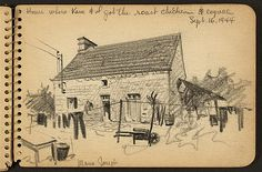 Victor Alfred Lundy (1923-) - House Where Kane & I Got the Roast Chicken & Cognac, 1944 (WW II Sketchbook)