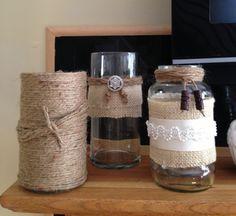 Burlap and Lace Jars- Mantle Idea