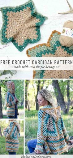 Two simple granny hexagons are the foundation of this free crochet hexagon sweater pattern. This modern boho cardigan is far easier than it looks! via @makeanddocrew