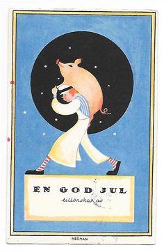 Annons på Tradera: Nerman Julkort Slaktare bär gris pg 1924 KV 6 7 Bläck