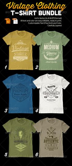 Vintage Clothing T-Shirt #Bundle - #Designs #T-Shirts Download here: https://graphicriver.net/item/vintage-clothing-tshirt-bundle/7851876?ref=alena994