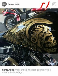 ☆H.A.M.C.- RIVERSIDE☆ Love the paint. Big Dog Motorcycle, Custom Paint Motorcycle, Motorcycle Clubs, Harley Bikes, Harley Davidson Bikes, Helmet Paint, Hells Angels, Custom Paint Jobs, Air Brush Painting