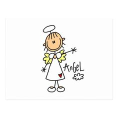 Stick Figure Angel T-shirts and Gifts Post Cards Doodle Drawings, Easy Drawings, Doodle Art, Drawing For Kids, Art For Kids, Stick Figure Drawing, Angel Drawing, Stick Figures, Stone Painting