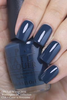 I have the new OPI Washington DC Collection to share with you today! OPI teamed with actress Kerry Washington for this fifteen-piece polish Fall/Winter 2016 collection. While ~~> Color: CIA Opi Nail Polish, Opi Nails, Nail Polish Colors, Navy Blue Nail Polish, Stiletto Nails, Shellac, Great Nails, Cute Nails, Uñas Fashion