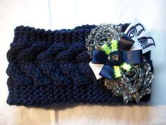 Women's Knit Polka Dot Head Ear Warmer Earmuff Seattle Seahawks NFL Football Crochet Headband (18.00 USD) by BadCatCraft