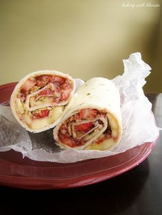 Peanut butter granola wrap with strawberry and banana