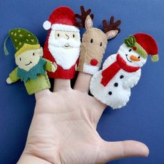 Santa and Friends - 3 Wool Felt Finger Puppets.