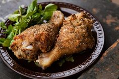 Chicken drumsticks, dipped first in a mayo mustard mixture, then in dry breadcrumbs with chives, then oven baked.