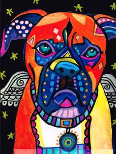 11x14 Boxer Dog Art PRINT Poster of Painting by HeatherGallerArt, $24.00