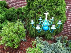 Custom Solar Light Chandelier  White Blue by HamboneandFlippy, $195.00