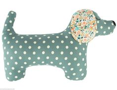 Buy from the Dogs Trust Charity Gift ShopLarge Dachshund cushion green with a yellow polka dot print and floral fabric ears 100 cotton fabric with a non- removal hollow fibre inner by SassBuy the Daphne the Dachshund Cushion @ Flamingo Gifts. Sewing Toys, Sewing Crafts, Sewing Projects, Sewing Clothes, Fabric Toys, Fabric Crafts, Charity Gifts, Animal Sewing Patterns, Floral Patterns