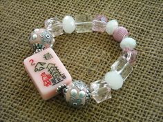 Pink Flower Mahjong Bracelet - Jesse James Beads Jewelry - Mah jong Jewelry by MahjongJewelry on Etsy