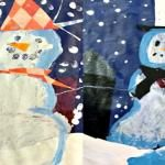 Inspired by the book Snowmen at Night, first graders created a tissue paper background and added a mixed-media snowman. A great winter art and craft project for kids. Winter Crafts For Kids, Craft Projects For Kids, Arts And Crafts Projects, Art For Kids, Winter Kids, Class Projects, Kids Crafts, Project Ideas, Snowmen At Night