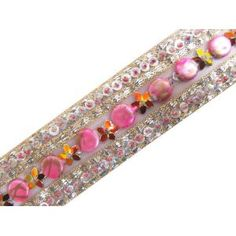 """4.5 Yard Hand Beaded Light Pink Net Ribbon Trim Sewing  WIDTH - 1.5"""" INCH; COLOR- Pink & Silver"""