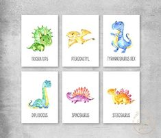 Set of 6 Dinosaur Name Prints, Dinosaur Wall Art, Unframed