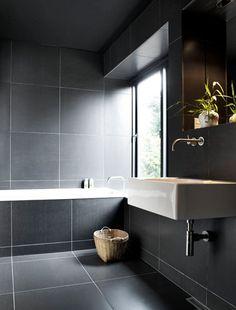 Bathroom Tile Idea Use Large Tiles On The Floor And Walls throughout Dark Tile B. Bathroom Tile Idea Use Large Tiles On The Floor And Walls throughout Dark Tile Bathroom Grey Bathroom Floor, Dark Gray Bathroom, Dark Bathrooms, Bathroom Flooring, Modern Bathroom, Bathroom Wall, Charcoal Bathroom, Timeless Bathroom, Vanity Bathroom