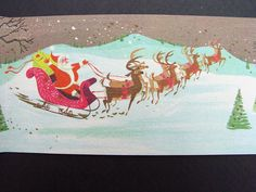 Up for sale is a Vintage greeting card. A California Artists Card. Art by Ralph Hulett. Design # Christmas Horizons Great image of Santa on his way to deliver gifts. Vintage Christmas Images, Old Christmas, Vintage Holiday, Christmas Design, Xmas Greeting Cards, Xmas Greetings, Vintage Greeting Cards, Artist Card, Disney Concept Art