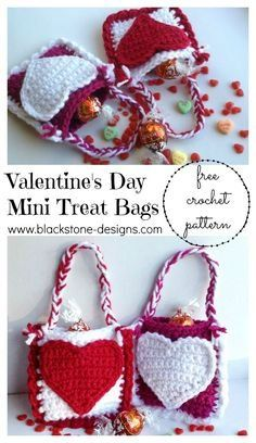 Crochet Handbags Valentine's Day Mini Treat Bags FREE crochet pattern from Blackstone Designs Crochet Design, Love Crochet, Crochet Gifts, Crochet For Kids, Easy Crochet, Crochet Patterns, Crochet Ideas, Crochet Tutorial, Crochet Hearts
