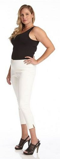 plus size white capri pants - Pi Pants