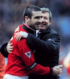 1914ef798 Ferguson embraces Cantona after Manchester United beat Chelsea at Villa  Park to reach the 1996 FA
