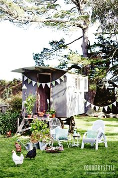 If you're lucky enough to have a vintage caravan in your backyard try adding pot plants at the top of the steps or. Kids Cubby Houses, Kids Cubbies, Small Houses, Outdoor Entertaining, Outdoor Fun, Outdoor Decor, Outdoor Living, Porches, Spring Flowering Bulbs
