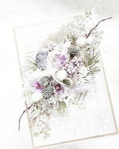card christmas pine brances pine cones berry berries frosted snow glistening ------------------------------Цветы под