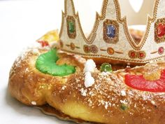 In time for Three Kings Day (January 6=Spain's Christmas, when the 3 kings come instead of Santa): Rosca de Reyes is eaten, which is a giant pastry with cream in the middle, candied fruit on top, and a hidden figure of one of the kings inside (whoever finds it gets good luck for a year and has to provide the cake for the following year).