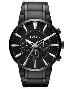 Fossil Watch, Men's Chronograph Black Tone Stainless Steel Bracelet 48mm FS4778 - Men's Watches - Jewelry & Watches - Macy's