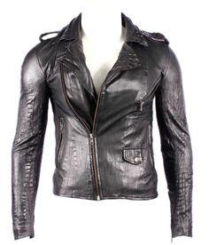 Slim-Fit-BRANDO-CROC-BLACK-Mens-Classic-Motorcycle-Biker-Soft-Leather-Jacket