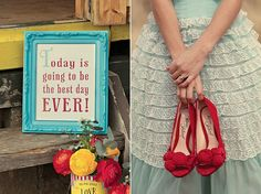 love the red & turquoise color combo.