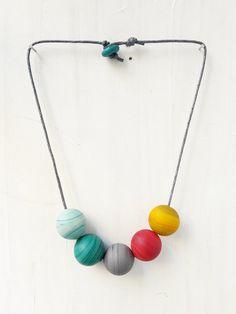 Beaded necklace rainbow colors with glass by LiperlaHandmadeGlass