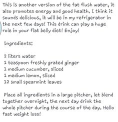 Fat flush water? Must try! :)