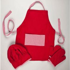 Red Gingham Kids Kitchen Apron Set.