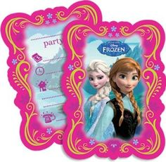 Disney Frozen Party Invitations & Envelopes...I like the border