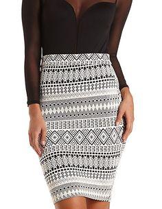 Textured Tribal Print Midi Skirt: Charlotte Russe #charlotterusse #charlottelook #tribal #midi #skirt