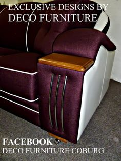 UNIQUE & EXCLUSIVE DESIGNS BY DECO FURNITURE 50's style art deco lounge is fully sprung seats,backs,arms,and cushions all lounges come with a lifetime structural guarantee. large range of fabrics to choose from made on site.showroom 100 gaffney st coburg melbourne phone 03 93501699 ..........website www.decofurniture... ........................facebook ( deco furniture coburg )